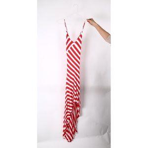 Stripped asymmetrical summer dress